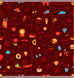 seamless patter doodle elements background vector image