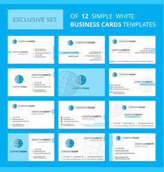 set of 12 clock creative busienss card template vector image