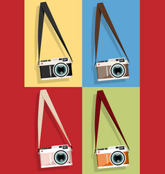 set of camera icon vector image