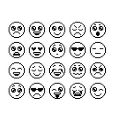 set of emoticons pixel emoji characters isolated vector image