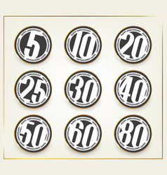 set of happy anniversary emblems vector image