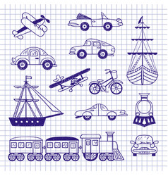 set of vintage transport vector image