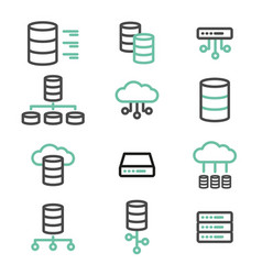 Simple set of database server line icons vector