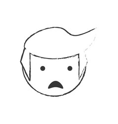 skecth boy son sad face vector image