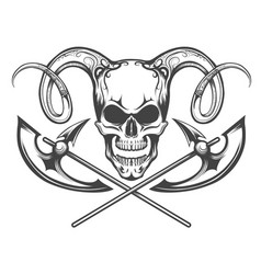 Skull with ram horns and axes vector