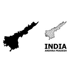 Solid and network map andhra pradesh state vector