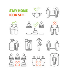 stay home icon social area healthcare prevention vector image