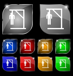 Suicide concept icon sign Set of ten colorful vector