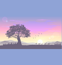 Sunrise tree vector