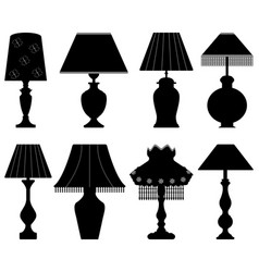table lamp light black a set of table lamp light vector image