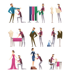 Tailor characters fabric sewing workings in vector