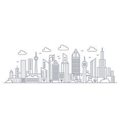 Thin line city panorama landscape modern vector