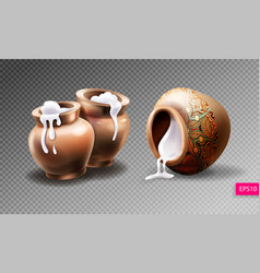 Three realistic clay pots with sour cream vector