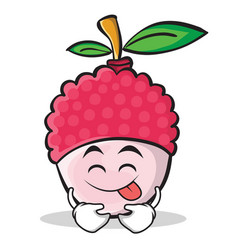 Tongue out lychee cartoon character style vector