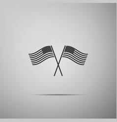 two crossed american waving flags icon vector image