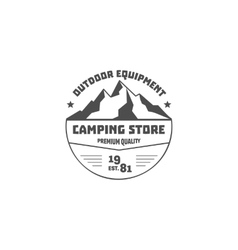 Vintage mountain camping store badge outdoor logo vector image