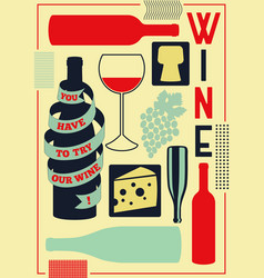 vintage style wine elements poster vector image