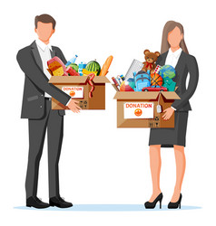 volunteers with cardboard donation box vector image