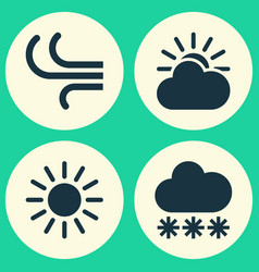 Weather icons set collection of sun-cloud snowy vector