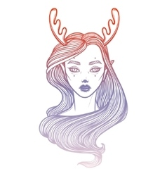 With beautiful girl Dryad Mythical vector