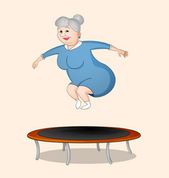Woman jumping on trampoline vector