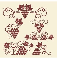 grape vine elements vector image