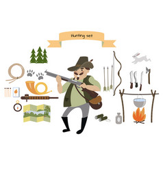 hunting icon set flat style vector image vector image