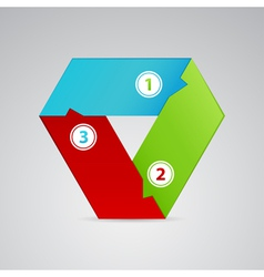 single triangle emblem from three colors vector image