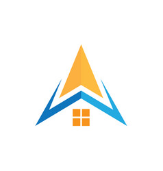 abstract home roof arrow biisness logo vector image vector image