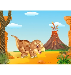 Cartoon triceratops three horned dinosaur vector image