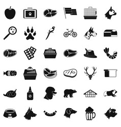 Clever dog icons set simple style vector