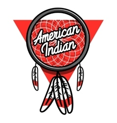 Color vintage american indian emblem vector image