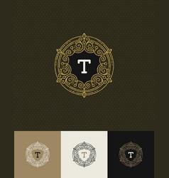 Flourishes glitter gold monogram logo vector