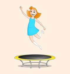 Girl jumping on trampoline vector