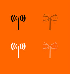 radio signal black and white set icon vector image vector image