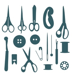 Sewing objects silhouettes set vector image