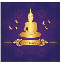 thailand buddha statue bird thai design purple bac vector image