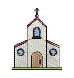 color crayon stripe image church building with vector image
