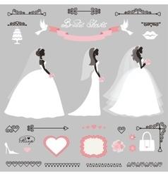 Different bride dresswedding bridal shower decor vector