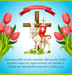 easter cross with lamb and flower poster template vector image vector image