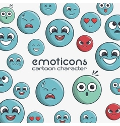 emoticons cartoon character faces expression vector image