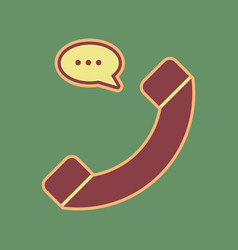 phone with speech bubble sign cordovan vector image vector image