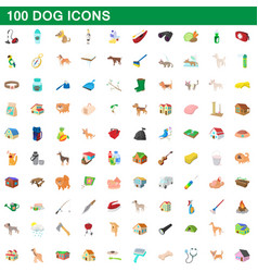 100 dog icons set cartoon style vector image vector image