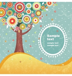 Abstract tree with flowers vector image vector image