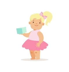 Blond Girl With Book In Pink Skirt Adorable vector image vector image