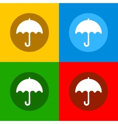 Color Umbrella Icons Set in Flat Design Style vector image vector image