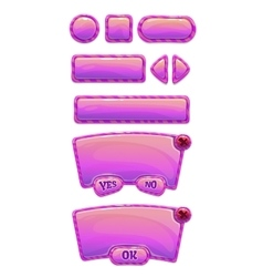 Cute glossy pink GUI set vector image vector image