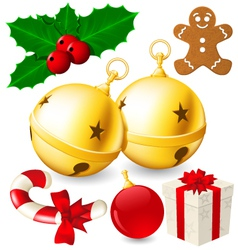Set of Christmas decoration bells made with vector image vector image