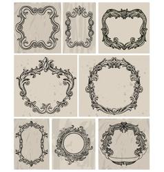 Set of vintage frames and design elements vector image vector image