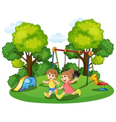 Two kids running in the park vector image
